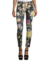 Etro Floral Print Skinny Jeans Black Women's
