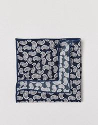 Selected Homme Paisley Pocket Square Blue