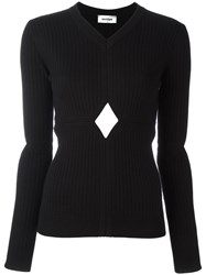 Courreges Cut Off Detail Knit Blouse Black