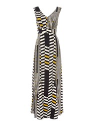 Biba Geometric Printed V Front Woven Maxi Dress Multi Coloured