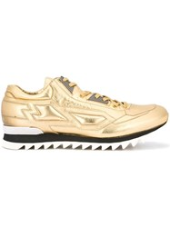 Les Hommes Paneled Lace Up Sneakers Metallic