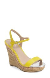 Women's Charles By Charles David 'Arizona' Espadrille Wedge Yellow Leather