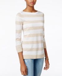 Tommy Hilfiger Striped Sweater Only At Macy's Ivory Pink