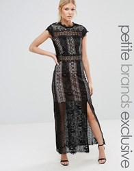 True Decadence Petite Allover Lace Crochet Maxi Dress With Thigh Split Black