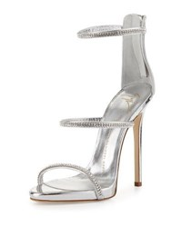 Giuseppe Zanotti Jeweled Three Strap 110Mm Sandal Silver
