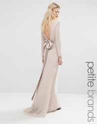 Tfnc Petite Wedding Bow Back Maxi Dress With Long Sleeves Nude Pink