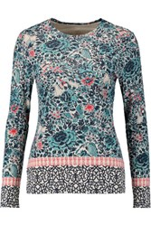Tory Burch Jasmine Printed Pima Cotton Jersey Top Multi