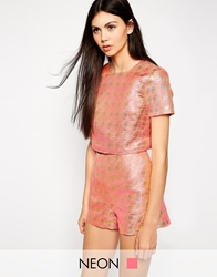 Lashes Of London Geo Jacquard T Shirt Crop Top Pink