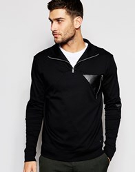 Hugo By Hugo Boss Sweatshirt With High Neck And Leather Trims Black
