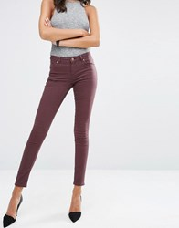 Asos Lisbon Mid Rise Jeans In Blackened Oxblood Oxblood Red