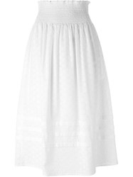 Red Valentino Broderie Anglaise Midi Skirt White
