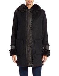 Dkny Faux Fur Lined Wool Blend Coat Black