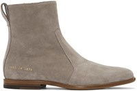 Robert Geller Grey Common Projects Edition Suede Boots