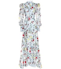 Erdem Scarlet Embroidered Silk Dress Blue