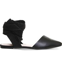 Office Dani Suede And Leather Pointed Toe Flats Black Leather