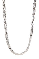 Italian Sterling Silver Braided Herringbone Chain Necklace