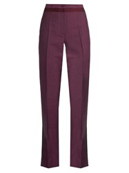 Bottega Veneta High Waisted Straight Leg Wool Blend Trousers Burgundy Multi