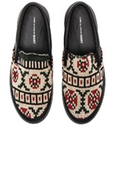 Comme Des Garcons Shirt Knit Slip On Sneakers In Abstract Black Abstract Black