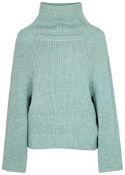 Toga Pulla Duck Egg Funnel Neck Wool Jumper Light Blue