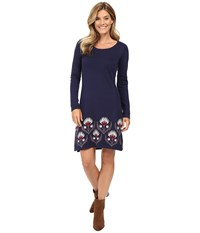 Hatley Sweater Dress Floral Thistle Women's Dress Blue
