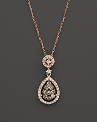 Bloomingdale's Brown And White Diamond Teardrop Pendant In 14K Rose Gold .45 Ct. T.W. Multi