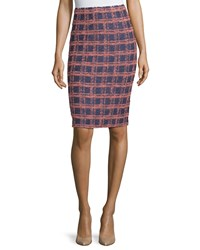 St. John Plaid Knit Pencil Skirt Ink Nectar