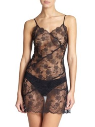 Josie Natori Sheer Lace Chemise Black