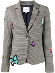 Mira Mikati Butterfly Patch Houndstooth Blazer Grey