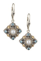 Phillip Gavriel 18K Yellow Gold And Sterling Silver Pearl And Blue Topaz Accented Fancy Byzantine Earrings Multi