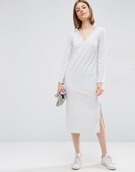 Asos Clean And Simple Column Dress Silver Grey