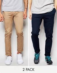 Asos 2 Pack Slim Chinos In Navy And Stone Navy Stone Multi