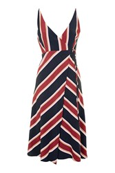 Topshop Tall V Striped Wrap Dress Navy Blue