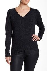 Velvet By Graham And Spencer Yoshi V Neck Cashmere Sweater Gray