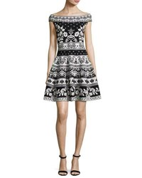 Alexander Mcqueen Floral Knit Off Shoulder Dress Black White Black White