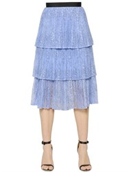 Self Portrait Tiered Plisse Lace Skirt
