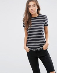 Asos T Shirt With Crew Neck In Stripe Black White