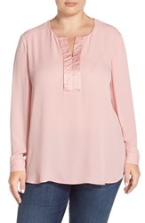 Plus Size Women's Sejour Satin Trim Long Sleeve Blouse Pink Bride