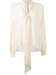 Giuliana Romanno Front Lace Up Blouse Nude And Neutrals