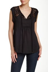Daniel Rainn Short Sleeve Crochet Yoke Woven Blouse Petite Black