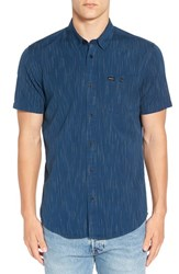 Rvca Men's 'Descent' Trim Fit Short Sleeve Woven Shirt Dark Denim