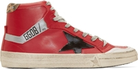 Golden Goose Red Leather High Top 2.12 Sneakers