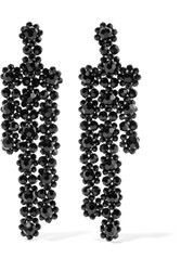 Simone Rocha Gold Plated Crystal Earrings Black
