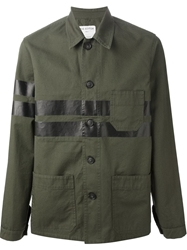 The Editor Printed Military Jacket Green