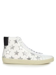 Saint Laurent Star Embellished High Top Leather Trainers White Multi