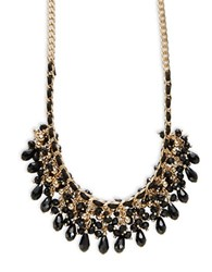 Design Lab Lord And Taylor Bead Accented Woven Chainlink Necklace Black