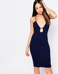 Oh My Love Bodycon Midi Dress With Strap Detail Navy