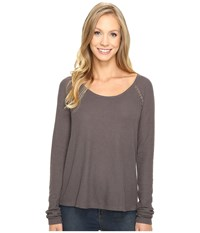 Lucky Brand Lace Mixed Thermal Top Pavement Women's Clothing Gray