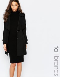 Brave Soul Tall Belted Mac Black