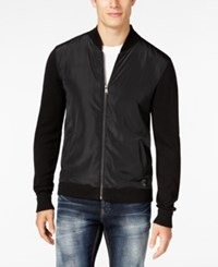 Guess Men's Ercole Perforated Full Zip Cardigan Jet Black