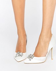 True Decadence Satin Embellished Court Shoes Off White Satin